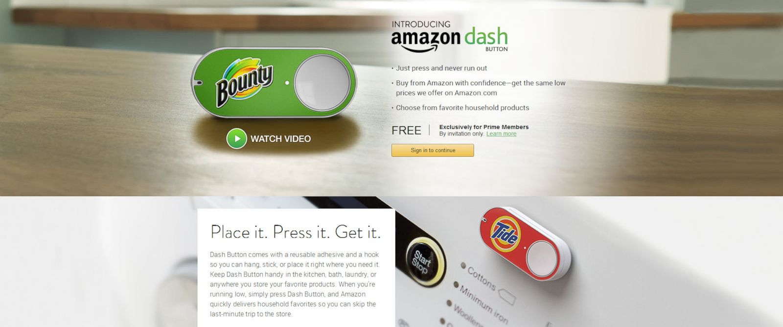 PHOTO: A screenshot of the Amazon Dash Button page shows the new service