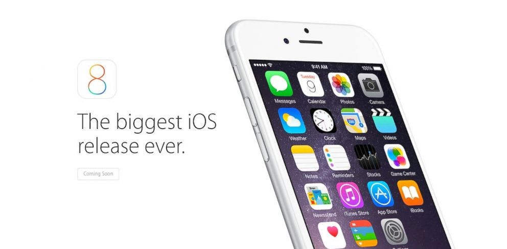 PHOTO: The new Apple iOS 8 is seen in this screen grab from the Apple home page.