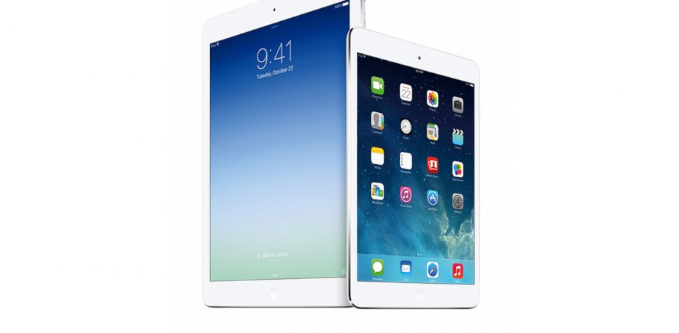 PHOTO: The iPad Air and iPad Mini with retina display were revealed at today's Apple event in San Francisco.