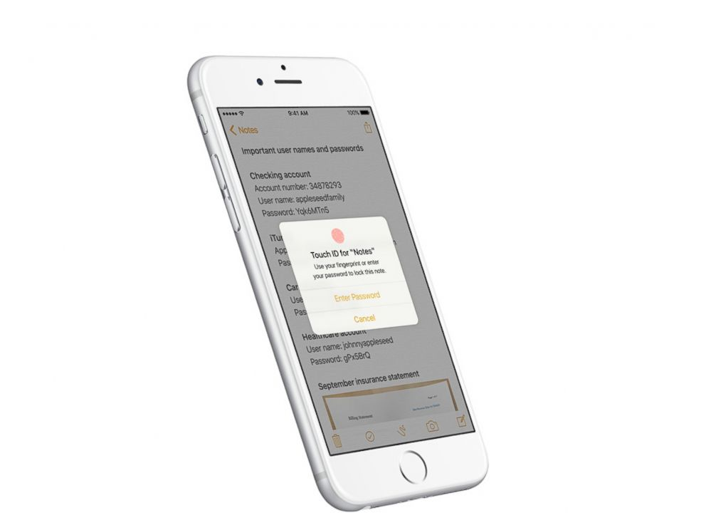 PHOTO:Apple iOS 9.3 will allow users to secure Notes with a password or fingerprint.