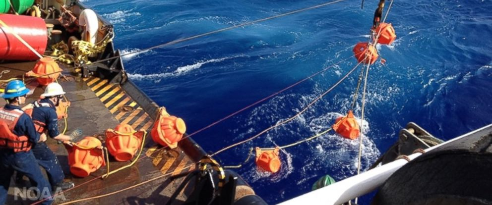 PHOTO: The National Oceanic and Atmospheric Administration and partners bring back recordings from the deepest part of the worlds ocean. The photo shows workers hauling up the hydrophone during the Challenger Deep mission in 2015.