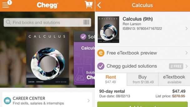 PHOTO: Chegg gives you access to a variety of electronic textbooks.