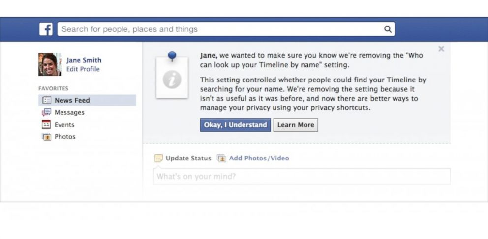 PHOTO: Facebook is getting rid of invisible to search.