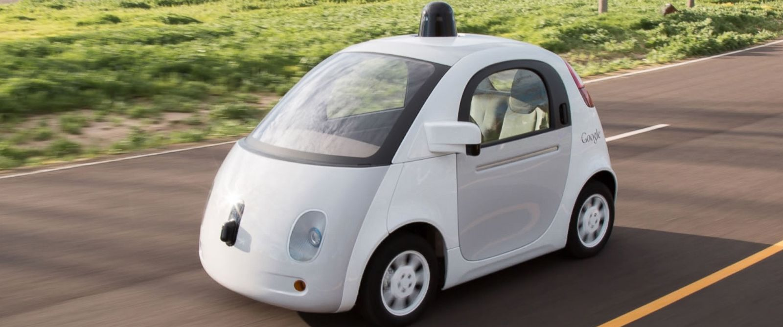 PHOTO: The finalized prototype of Google self-driving car is shown in this photo.