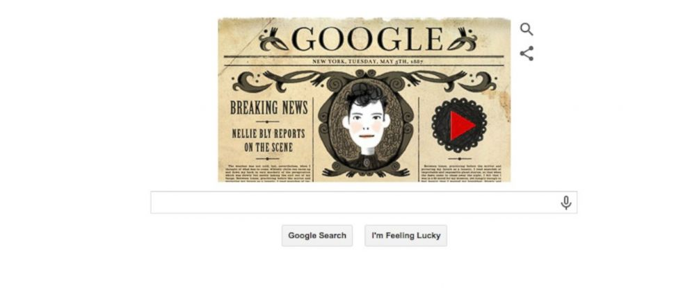 PHOTO: The Google Doodle for May 5, 2015, designed in celebration of Nellie Bly.