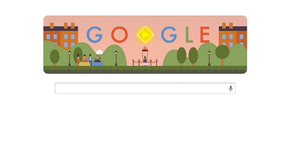 "PHOTO: Googles ""doodle"" for the 216th anniversary of the first parachute jump includes a playable minigame."