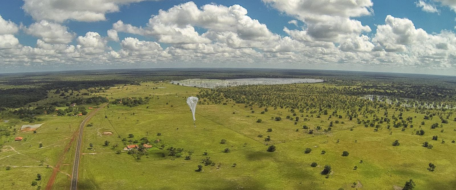 "PHOTO: A ""Project Loon"" balloon launches, heading toward the Linoca Gayoso Castelo Branco school, near Campo Maior, Brazil, May 28, 2014."