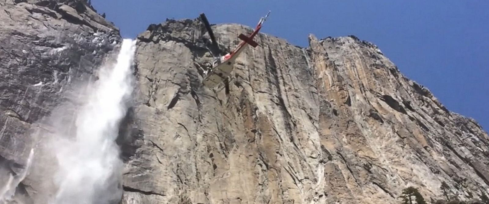 PHOTO: Video shows a helicopter team rescuing a stranded backpacker from the rapids at Yosemite National Park.