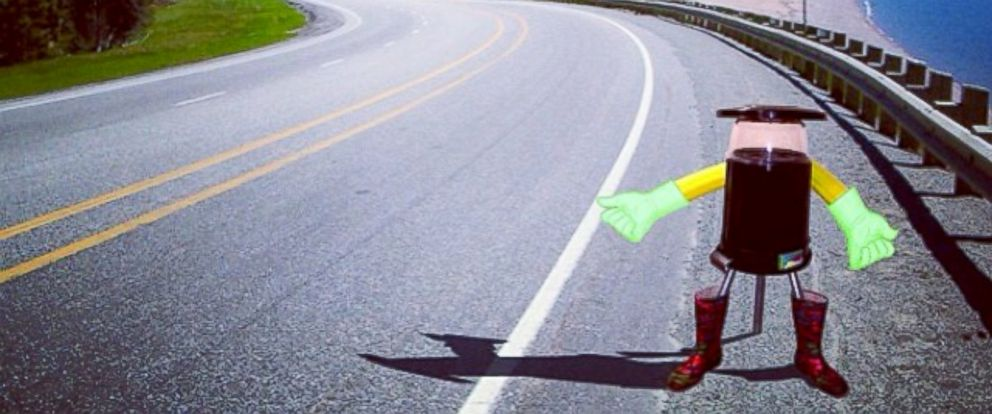 PHOTO: Hitchbot, a tiny robot, will be hitchhiking across Canada, making small talk along the way and live tweeting his adventure.