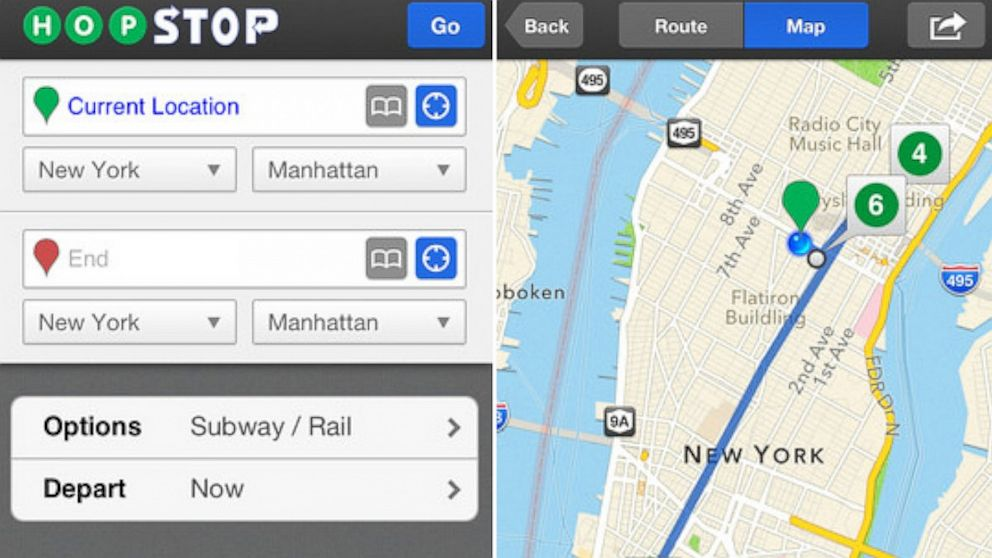 Hopstops iPhone app provides transit directions.