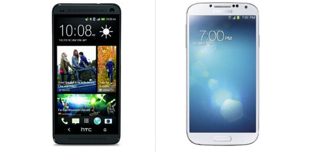 PHOTO: Samsung Taiwan was fined for paying people to criticize HTC products while praising its own line of devices. Above, HTCs One, left, and Samsungs Galaxy S4, right.