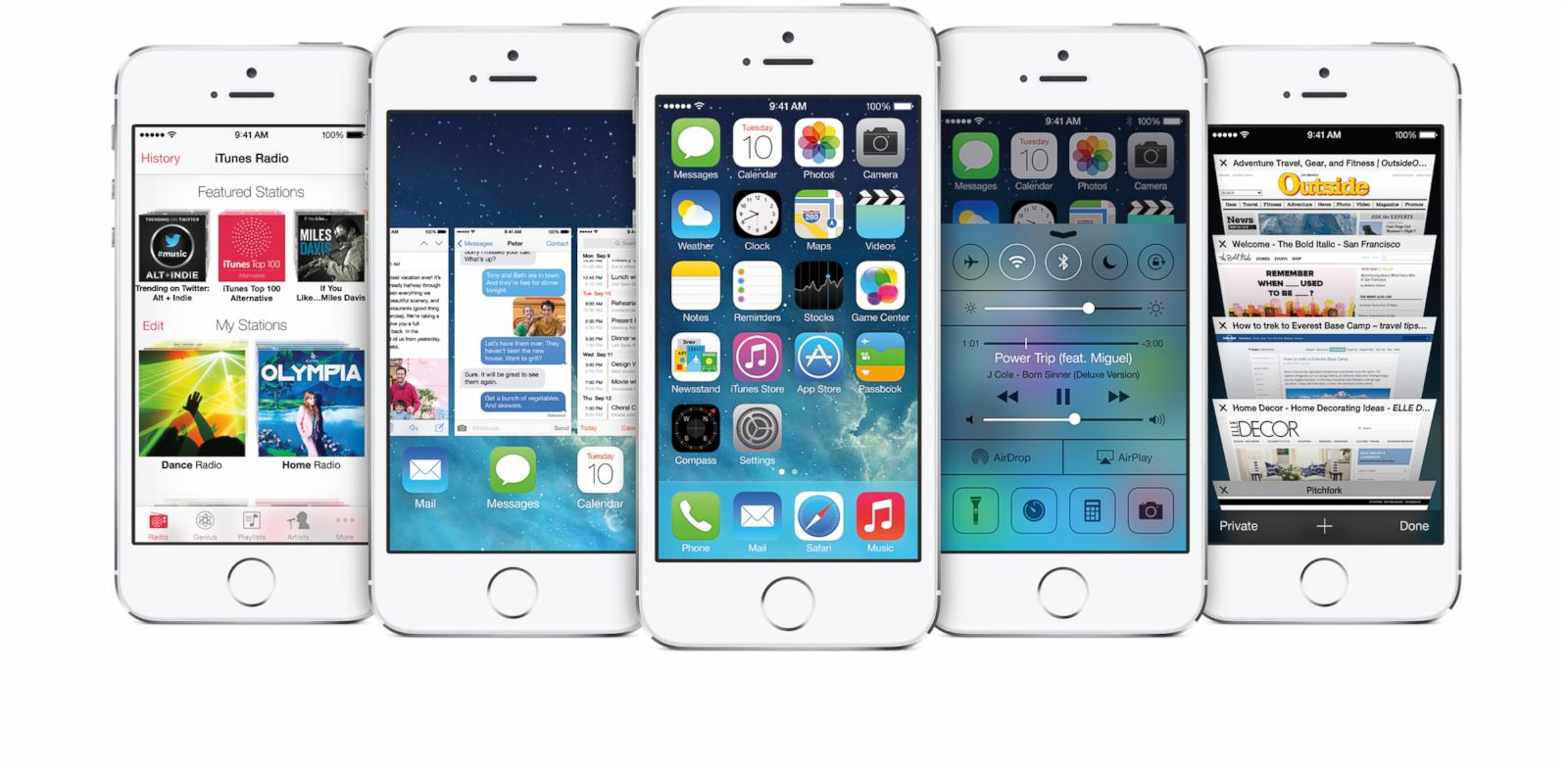PHOTO: The iPhone 5S, showing various design features of iOS 7.