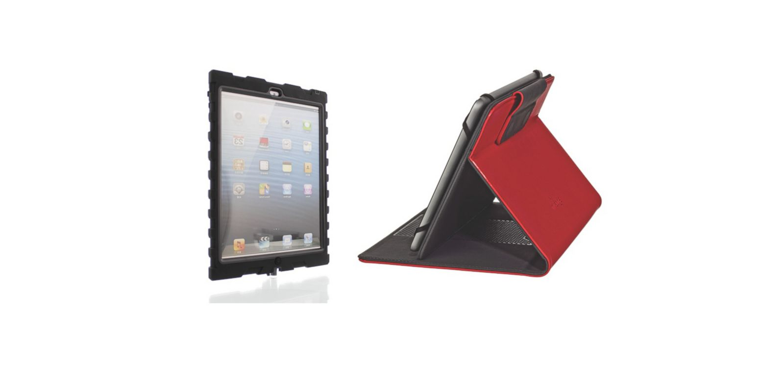 PHOTO: Hard Candys ShockDrop for iPad 5 case pictured left, M-Edges Stealth iPad 5 Case pictured right.