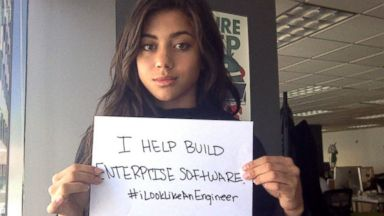 PHOTO: The hashtag #ILookLikeAnEngineer trended after Isis Wenger, pictured here, received sexist responses to her photo on one of her companys ads.