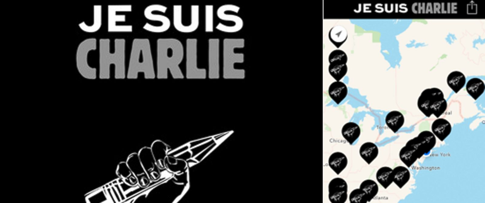 PHOTO: The Je Suis Charlie app allows users to show others where they are sending support from.