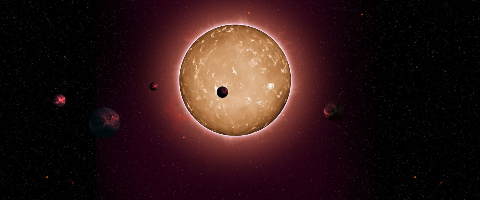 PHOTO: An illustration of Kepler-444 and its five Earth-sized planets.