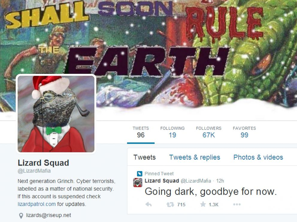 PHOTO: An online group known as Lizard Squad claims responsibility for the Christmas Play Station and XBox hacks.