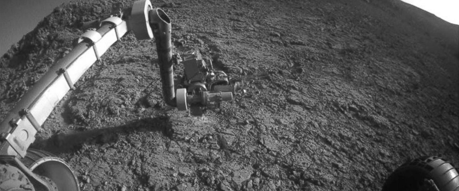 PHOTO: An image released by NASA on Jan. 25, 2016 shows the Mars Exploration Rover Opportunity at work 12 years after landing on the planet.
