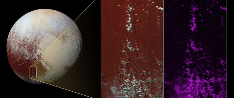 PHOTO:New Horizons captured methane snow on Plutos peaks.
