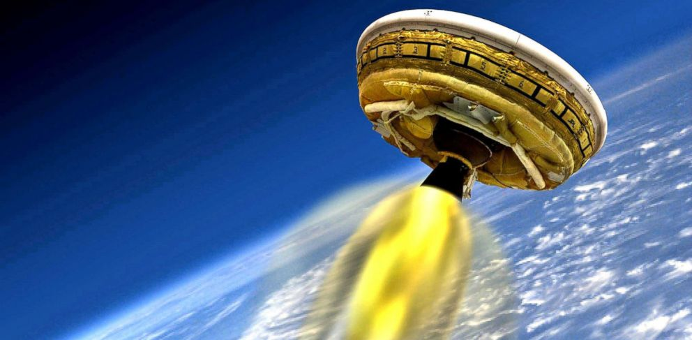 PHOTO: NASA is live testing its flying saucer that could allow a soft landing for cargo on Mars, March 31, 2015.