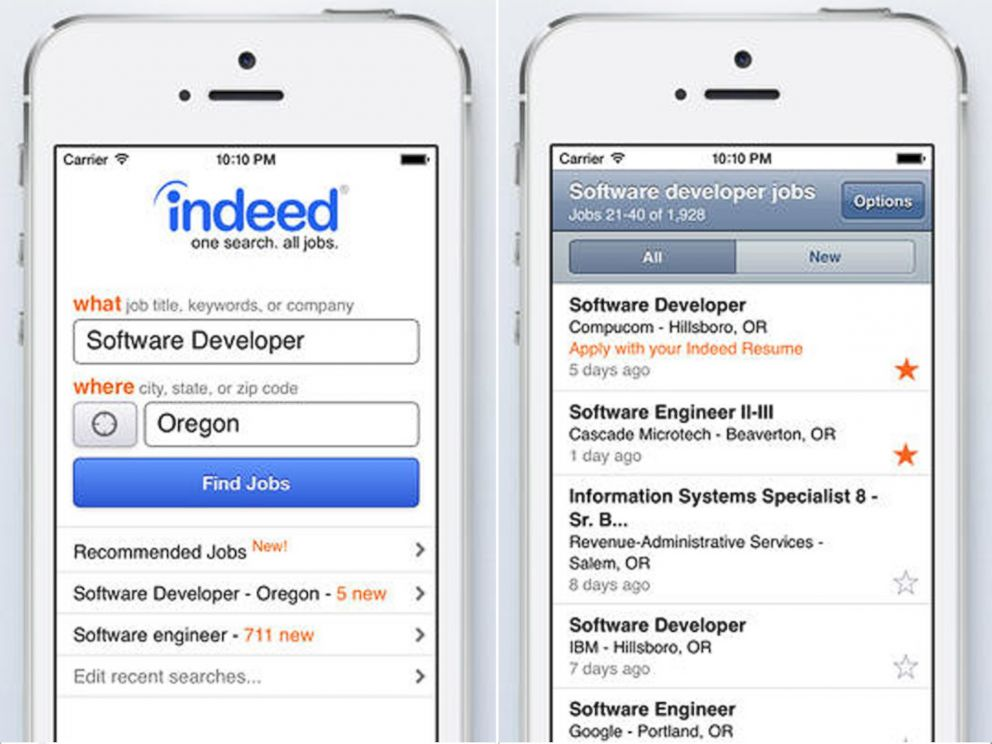 PHOTO: The Indeed Job Search app, by Indeed.com.