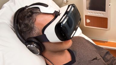 PHOTO: Qantas is adding Samsung Gear VR headsets to its first class experience on some flights.
