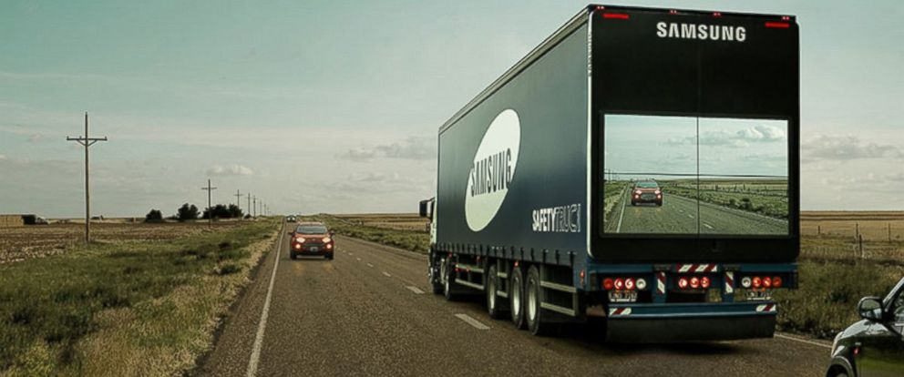 "PHOTO: Samsung is working on a ""see through"" truck to help save lives on the road."
