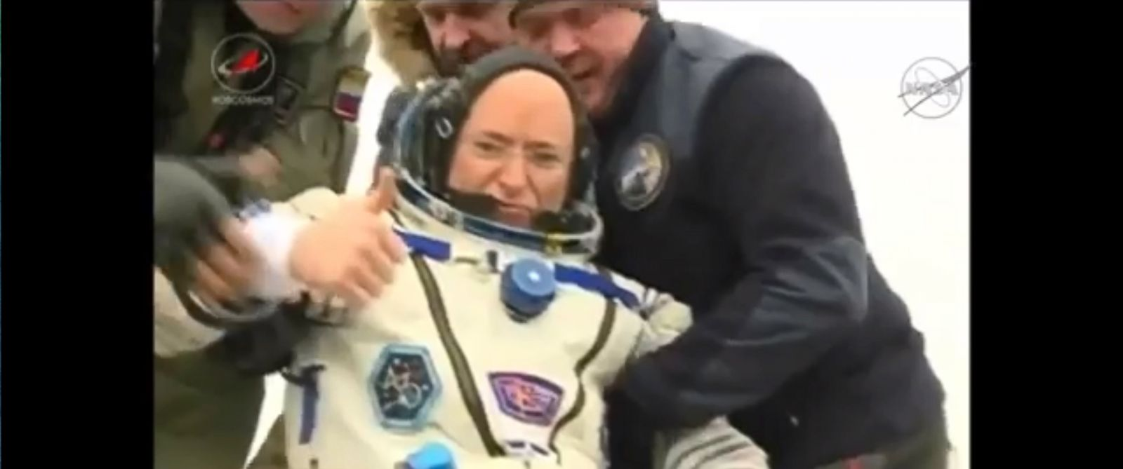 PHOTO: Astronaut Scott Kelly gives a thumbs up after returning to earth, March 1. 2015.