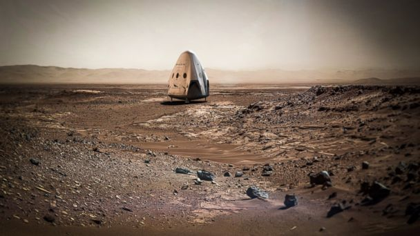 PHOTO: SpaceX may send a mission to Mars as early as 2018. Pictured here is a rendering of the Dragon spacecraft.  The