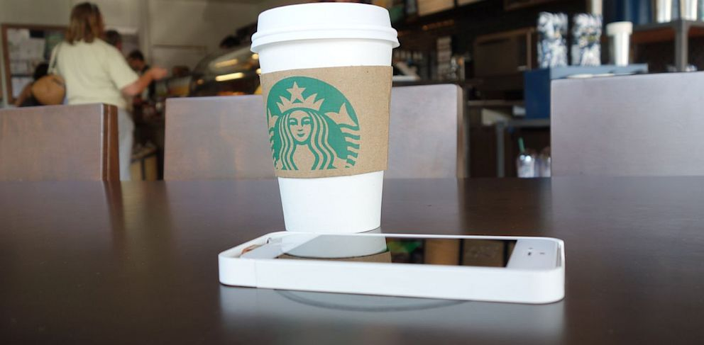 PHOTO: Silicon Valley Starbucks stores have started offering wireless charging stations to their customers.