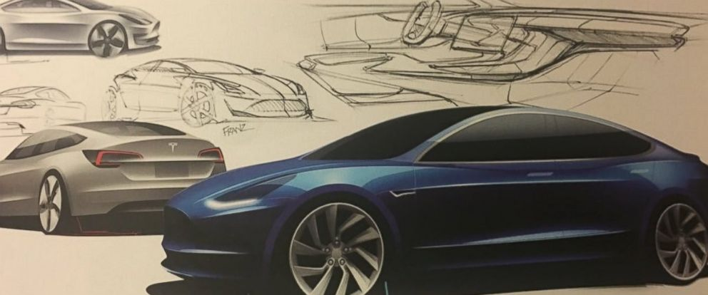 "PHOTO: Elon Musk posted this photo with this caption on Twitter, ""Model 3 design sketches,"" April 2, 2016."