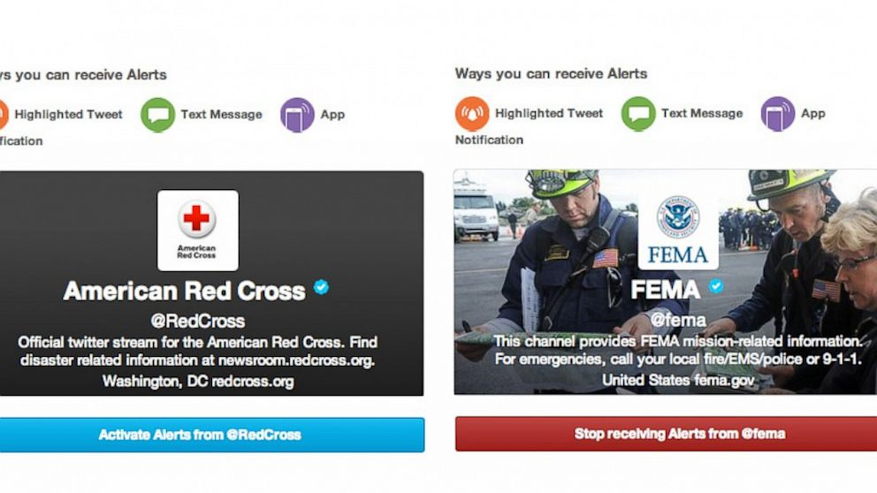 PHOTO: Twitter, alerts, emergencies