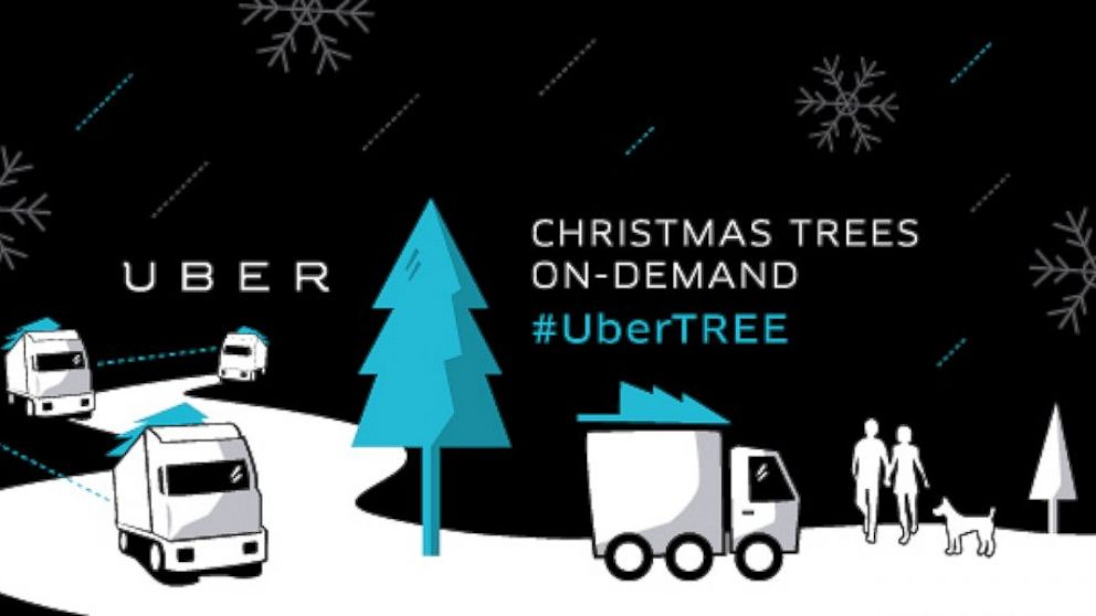 PHOTO: The car-hiring service Uber, with the help of Home Depot, will deliver Christmas trees