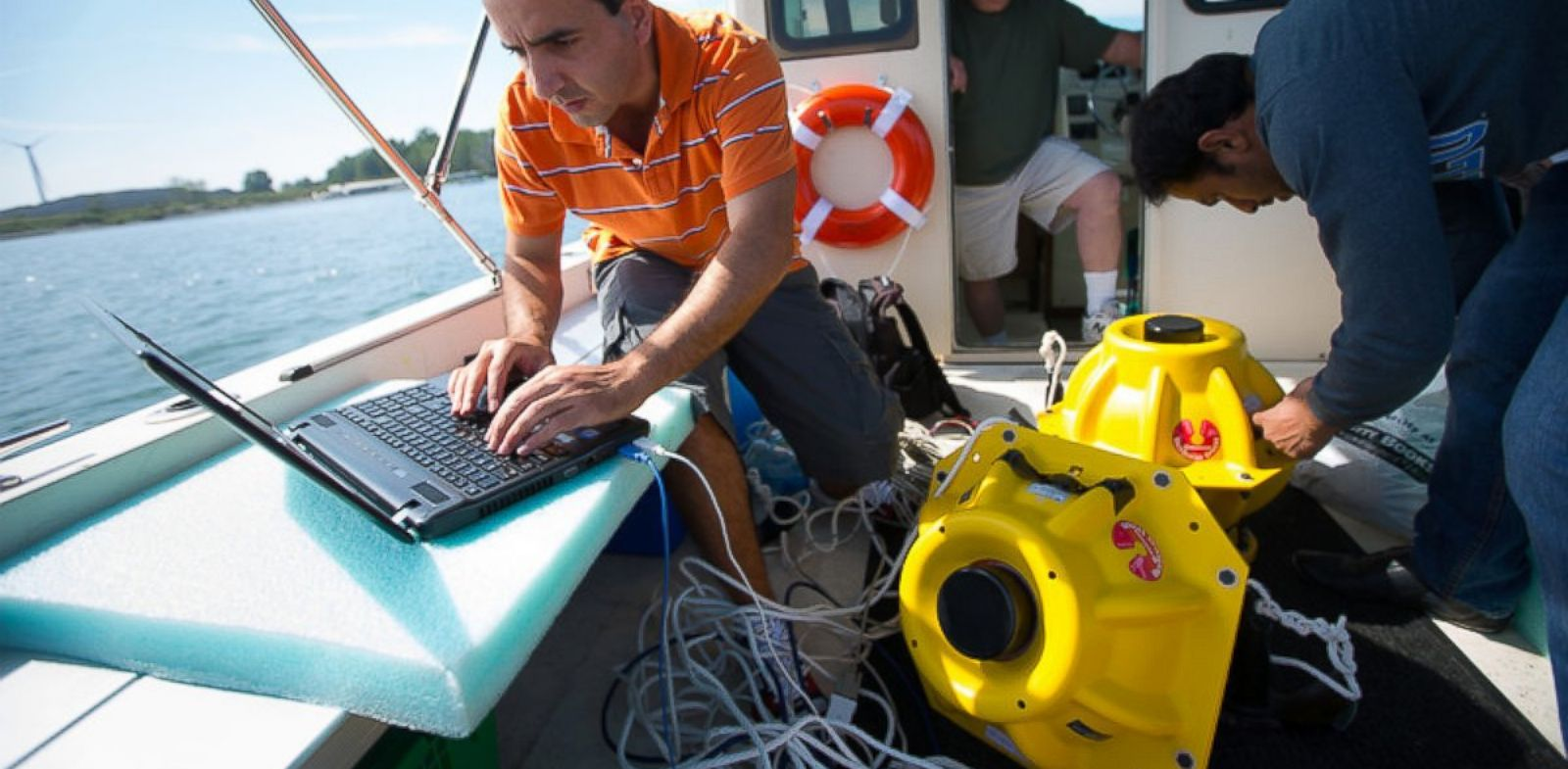 PHOTO: These giant yellow objects will be able to make underwater environments Wi-Fi capable.