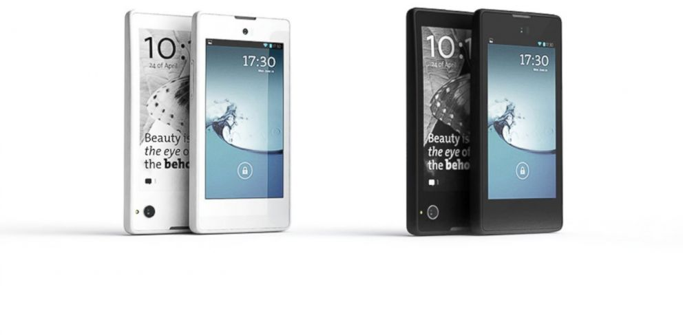 PHOTO: The YotaPhone has both LED and e-ink displays.