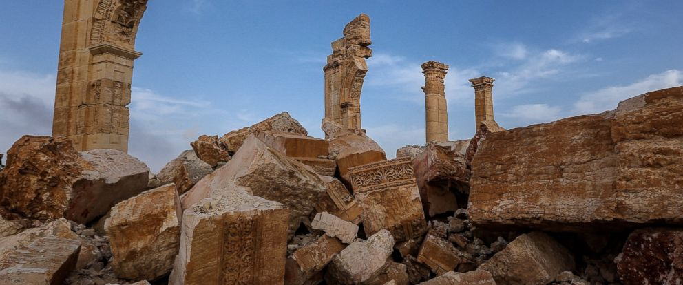 PHOTO: Ruins of the Monumental Arch are seen here after being destroyed by ISIS militants in Palmyra, Syria.