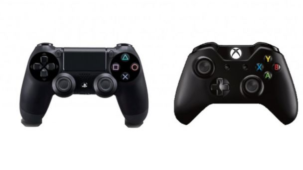 PHOTO: Xbox One, PS4 controllers.