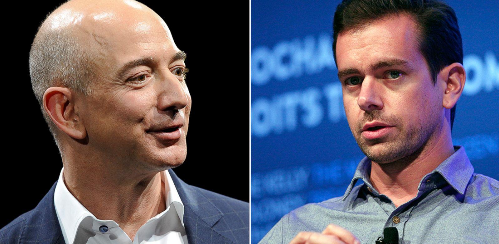 PHOTO: Jeff Bezos, left, and Jack Dorsey
