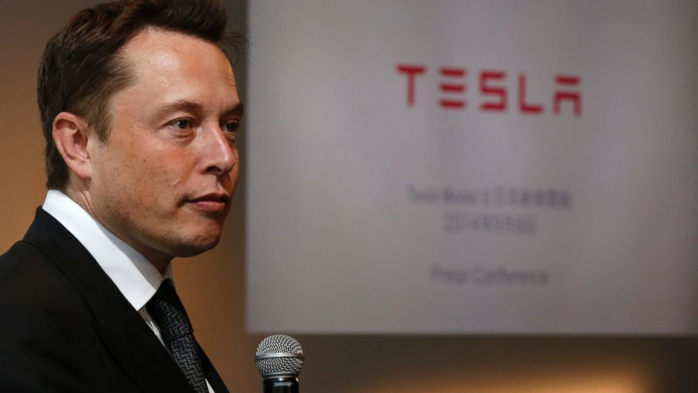 PHOTO: Tesla Motors, Inc. Chief Executive Elon Musk speaks during a news conference in Tokyo