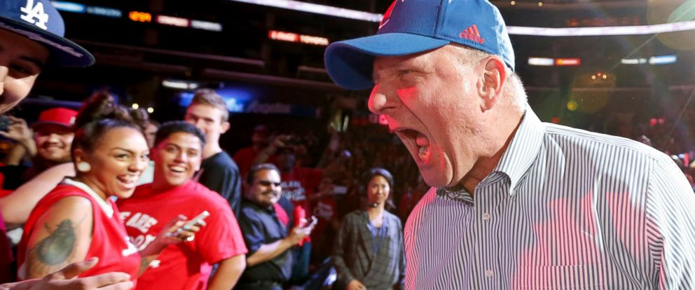 PHOTO: Los Angeles Clippers new owner Steve Ballmer is introduced at a fan event at the Staples Center in Los Angeles, Aug. 18, 2014.