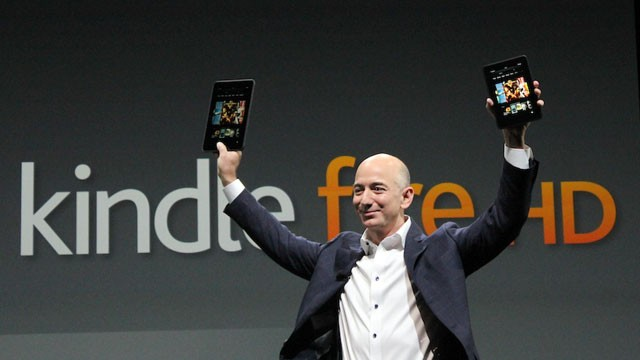 PHOTO: Amazon CEO Jeff Bezos announces new versions of the company's Kindle Fire tablet, Sept. 6, 2012 in Santa Monica, Calif.