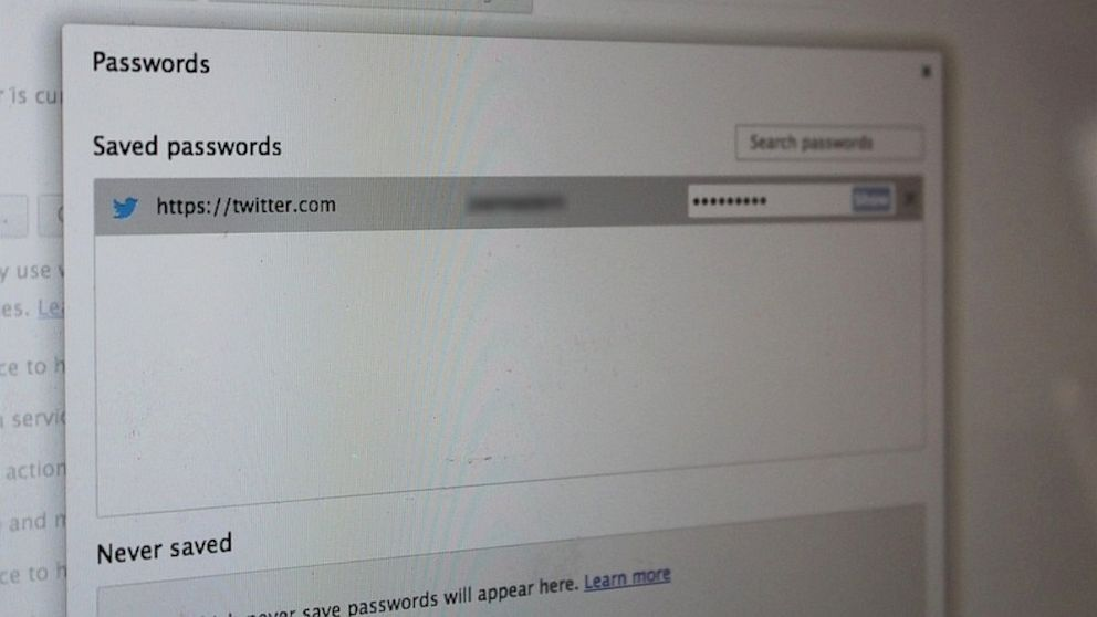 PHOTO: Chrome does not encrypt or protect saved passwords.