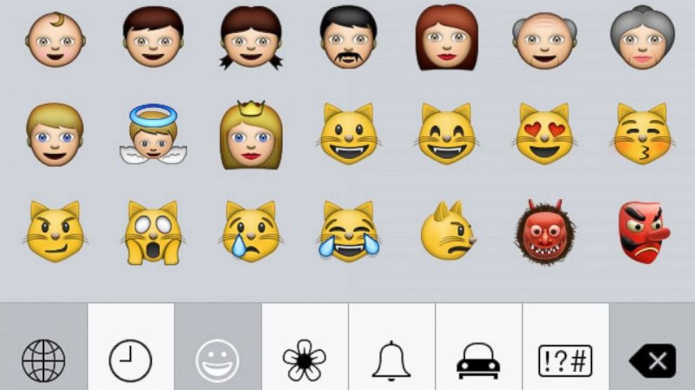 PHOTO: A screengrab from an iPhone made on July 8, 2014 shows part of the emoji character set.