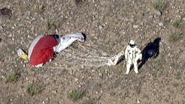 PHOTO: Felix Baumgartner is shown upon landing from his 18-mile dive back to Earth from the edge of space, in a plummet that reached a speed of 600 mph in 20 seconds.