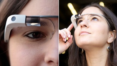 PHOTO: Google Glass, Google's glasses has a small display that allows you to see digital information in the real world.