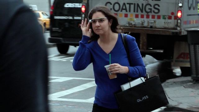 PHOTO: ABC News Joanna Stern tests Google Glass.