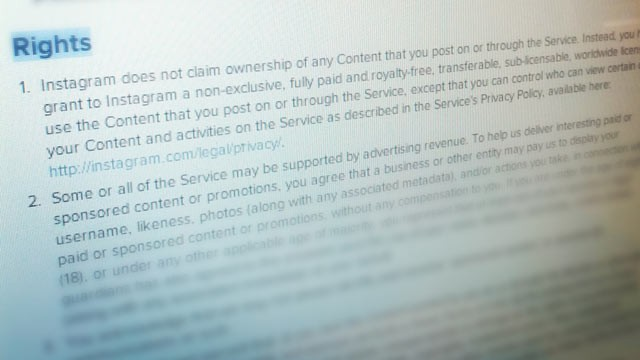 PHOTO: In January Instagram's Terms of Service will include new advertising and photo usage legalese.