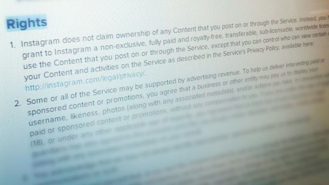 PHOTO: In January Instagrams Terms of Service will include new advertising and photo usage legalese.