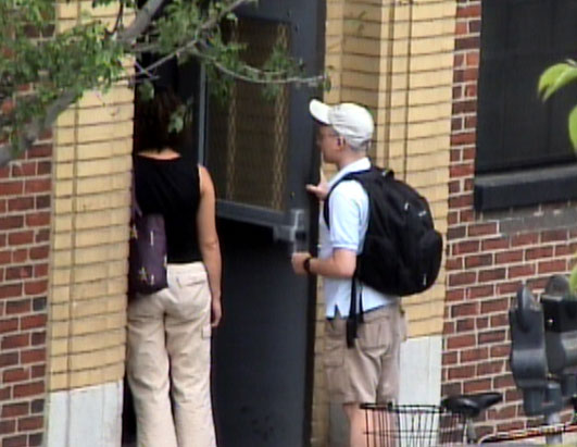 MIT Couple Enter Wtih Bag and Backpack