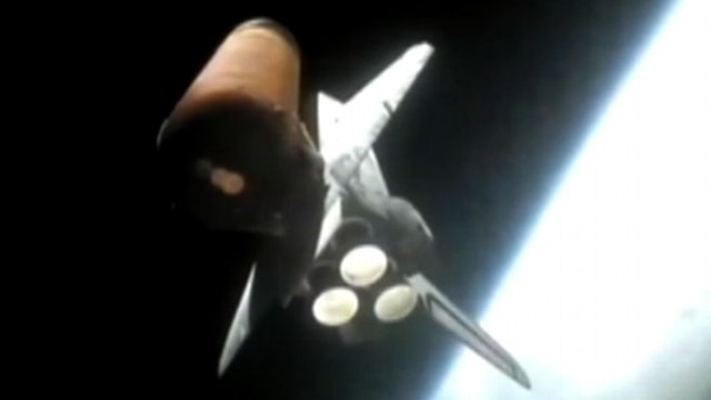 VIDEO: Cameras mounted on engine boosters give a different perspective of the Atlantis Space Shuttle launch.
